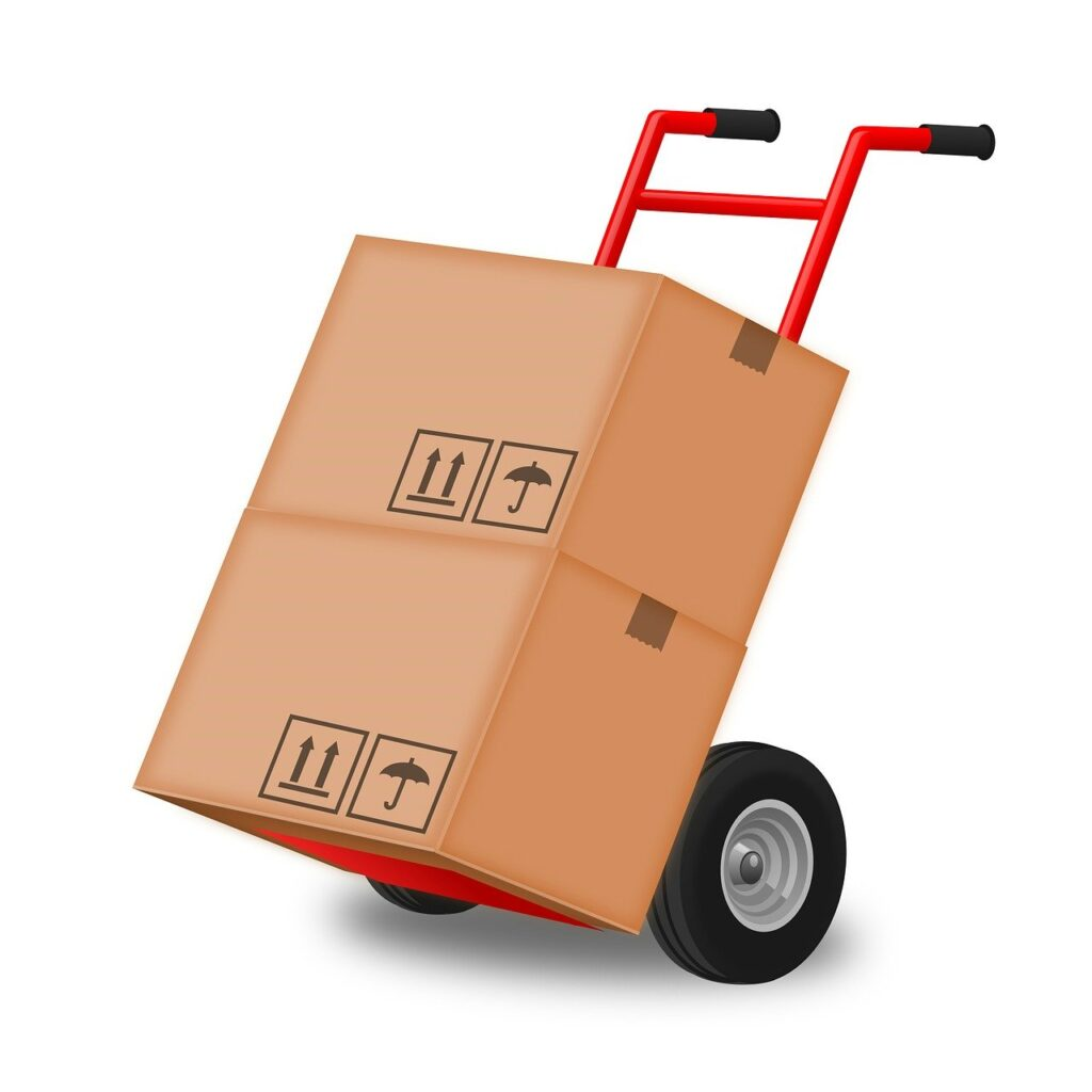 荷物を運ぶ台車の画像